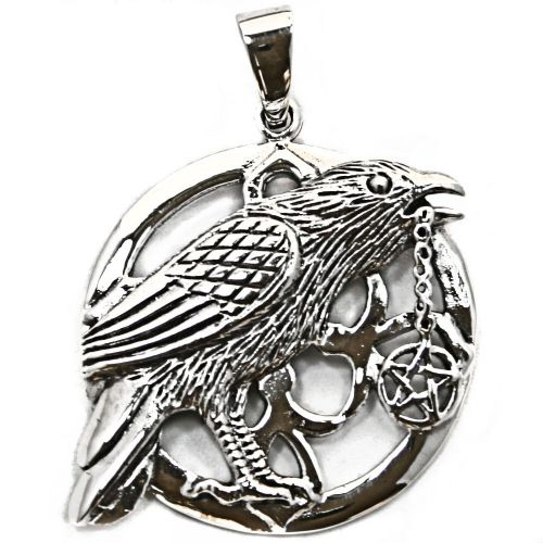 Moon owl with pentagram silver pendant p068 wiccan raven with pentagram silver pendant p069 aloadofball Image collections